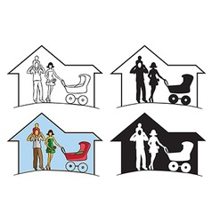 family silhouette in house vector image