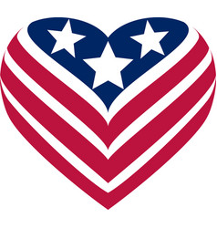 flag usa heart vector image