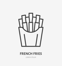 french fries flat line icon thin sign of vector image