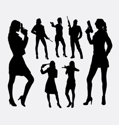 Girl with gun silhouettes vector