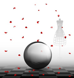 glass ball and red petals vector image vector image