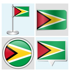 Guyana flag - sticker button label flagstaff vector image vector image