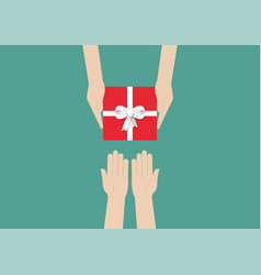 hands holding gift or present box vector image