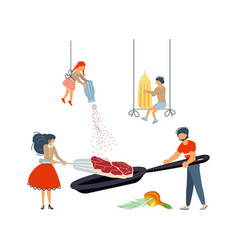 Happy family cooking together a pork chop vector