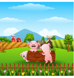 Happy three little pig playing logs in the farm vector