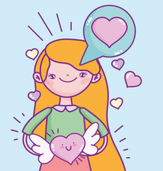 happy valentines day young woman with heart wings vector image