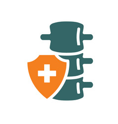 Healthy protected spine colored icon treatment vector
