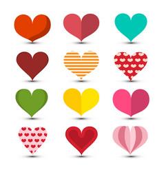 Hearts set love symbol colorul retro romance vector