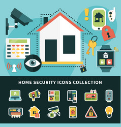 home security icons collection vector image