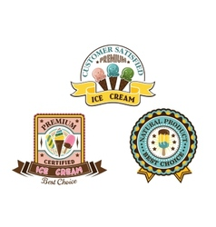 Ice cream badges and labels vector image