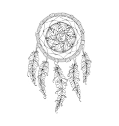 Indian Dream catcher black and white ethnic vector image
