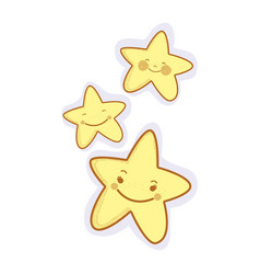 Kawaii happy stars expression vector