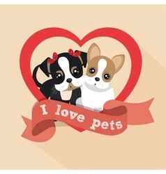 Label i love pets female male doggy heart vector