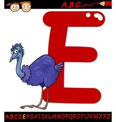 letter e for emu cartoon vector image