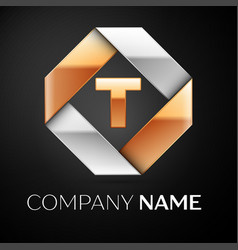 letter t logo symbol in the colorful rhombus on vector image