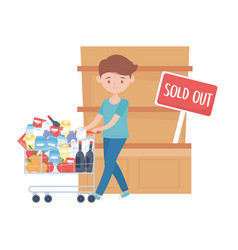 Man shopping with cart products shelf and sold out vector
