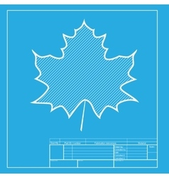 Maple leaf sign White section of icon on vector image