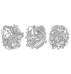 mauritus cartoon doodle designs set vector image
