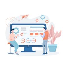 men developing website or mobile application vector image