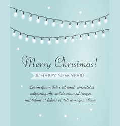 merry christmas card garland on blue background vector image
