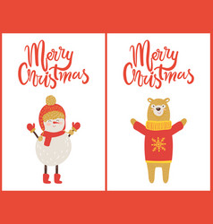 merry christmas snowman bear vector image