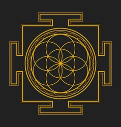 monochrome outline seed of life yantra vector image