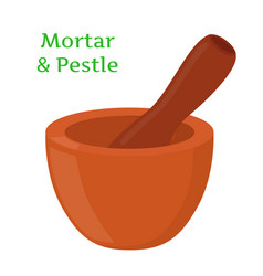 Mortar pestle pottery cartoon flat style vector