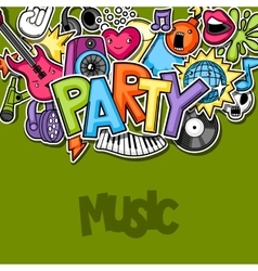 Music party kawaii background musical instruments vector