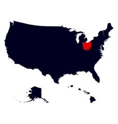 Ohio State in the United States map vector