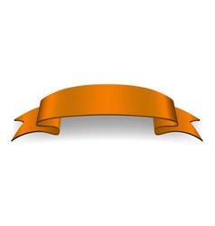 orange ribbon banner satin glossy bow blank vector image