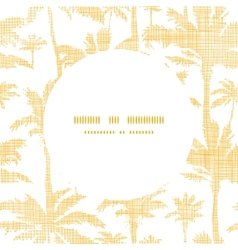 Palm trees golden textile frame circle pattern vector