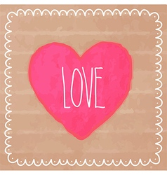 Pink watercolor heart on cardboard vector image