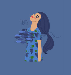 pisces zodiac sign with girl vector image