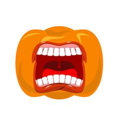 Pumpkin screams open mouth for halloween pumpkin vector