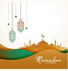 Ramadan kareem background in paper style vector