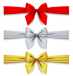 red silver and gold ribbons with bow isolated on vector image