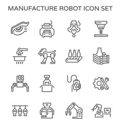 Robot production icon vector