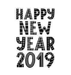 scandinavian style happy new year 2019 greeting vector image