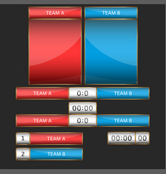 scoreboard mockup set for sports team game or vector image