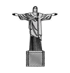 scribble redeemer christ statue vector image