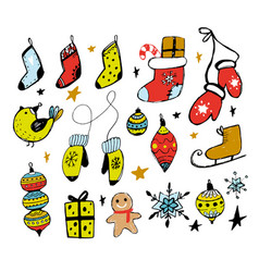 set of christmas design doodle elements ha vector image