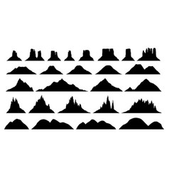 silhouettes different mountain types vector image
