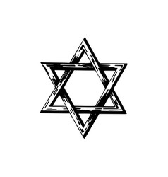 star of david hand drawn judaic vector image