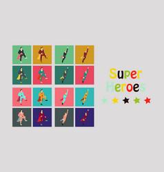 Superhero actions icon set in cartoon colored vector