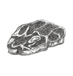 T-bone steak beef fillet fresh grilled engraved vector
