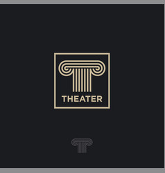 T letter monogram theater logo vector