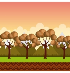 Trees and mountains landscape vector