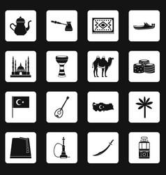 Turkey travel icons set squares vector