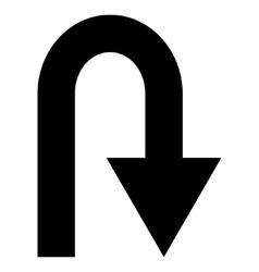 U Turn Flat Icon vector