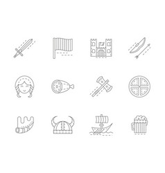 viking attributes flat line icons set vector image